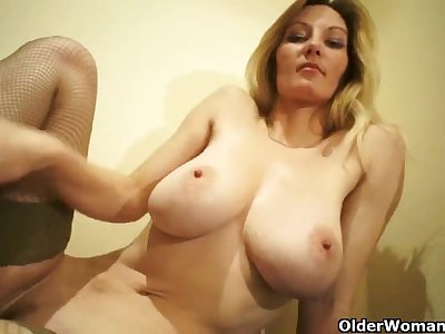 Older soccer mama with large breasts masturbates (compilation)