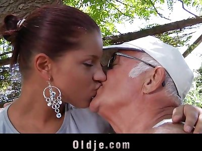 Grandpa's fuck teacher is a horny young babe
