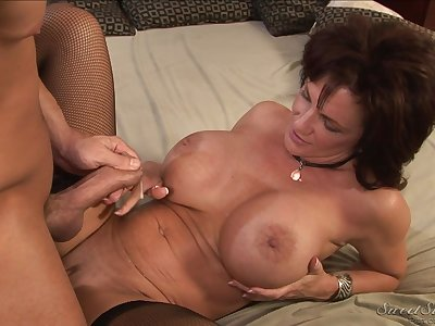 Mature redhead in stockings licked nicely