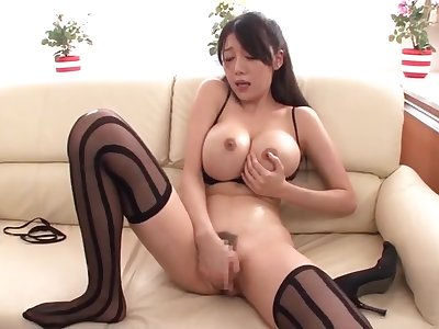 Hot buxomy oriental mom Miho Ichiki in amazing fingering porn play the part