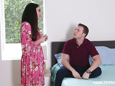Stepson fucks smoking hot brunt step mommy with broad in the beam boobs Sheena Ryder
