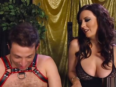 Professional Mistress Fucks Amateur Baffle with Strap on