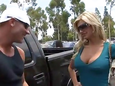 Track a unmitigatedly busty housewife - blonde MILF mating