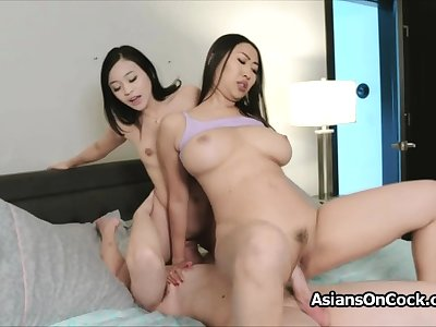 Big bushwa threesome nigh horny Asian hotties