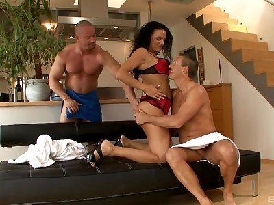 Vicky W adores to blow a dick while other guy fucks their way badly