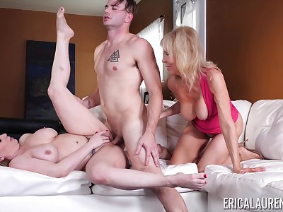 Young lad fucks the girlfriend and her mature mom