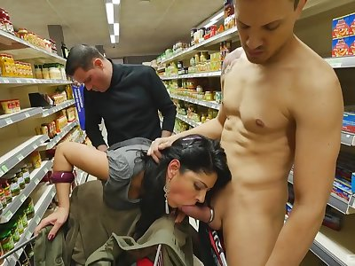 Amateur sucks and fucks at the supermarket