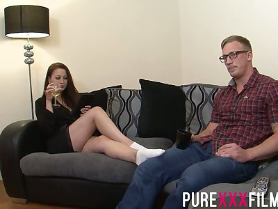 Having seduced nerdy coxcomb Romanian nympho Lara Jade Deene enjoys riding blarney
