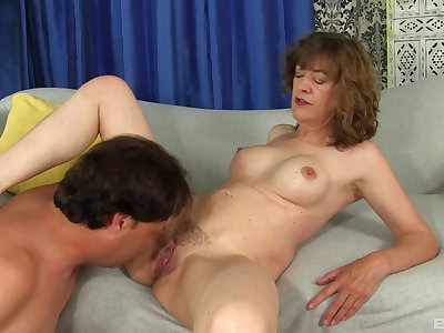 Exclusive mature porn with a pauper licking and fucking her relevant