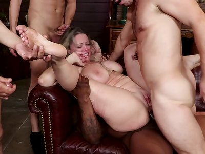 Big gang bang orgy nearby anal penetration and BDSM bondage