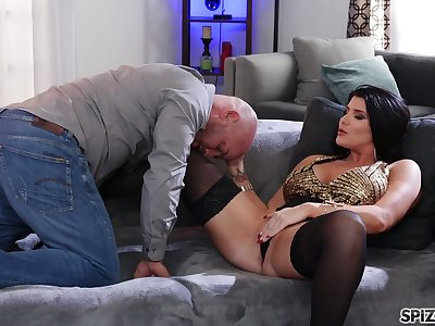Jaw dropping milf Romi Rain rides a big hard load of shit and gets doggy fucked