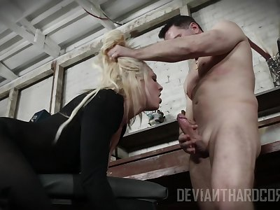 Blonde whore gags helter-skelter cock explosion sporadically fucks like a hustler