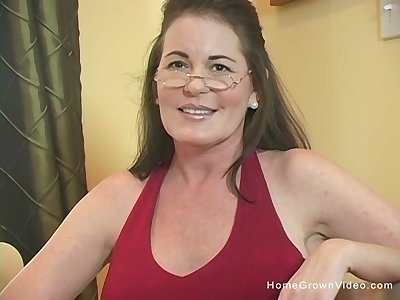 Busty brunette cougar gets stuffed by a big load of shit