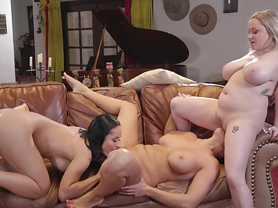 The slutty MILFs love a nice threesome on be passed on leather love-seat