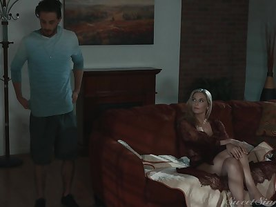 MILF stepmom makes an interest in her stepson's load of shit very clear