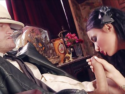 Astonishing and sexy brunette maid Anissa Kate is fucked block out beat up by studs