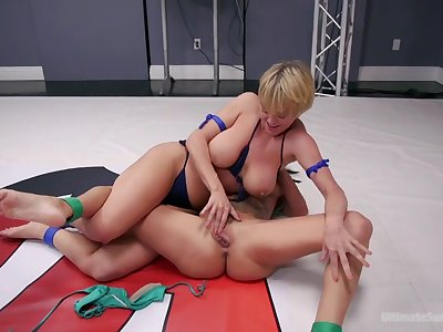 Sexual wrestling session with twosome busty pussy fond hotties