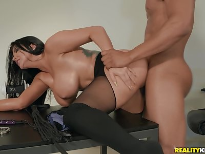 Busty adult woman cheats with say no to boss winning office