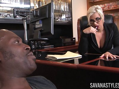 Business lady Savana Styles invited her raven lover relating to her office