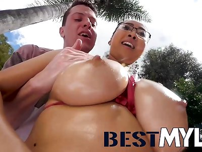 Busty Asian mum Sharon Lee in unforgettable hardcore action in the matter of cumshot