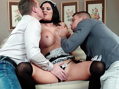 Mature maid fucked by two younger bulls with huge dicks