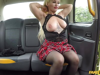 Cougar Princess Eve lifts will not hear of miniskirt to be fucked by the government worker