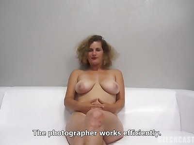 Blonde woman with curly hair is getting fucked during a job interview added to moaning while cumming