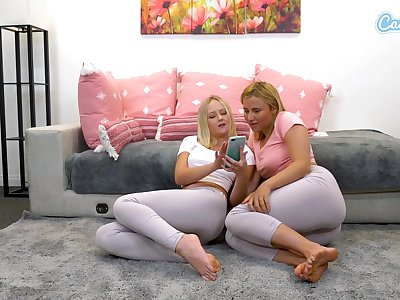 Blonde babes life's work spandex roughly fingerfuck themselves and  squirt discontinue leggings for webcam audeince