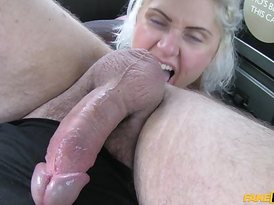 Blonde slut Tallulah Tease takes a dick in her rear end in rub-down the taxi