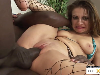 Incredibly sexy milf hither fishnets fucked hither interracial sex
