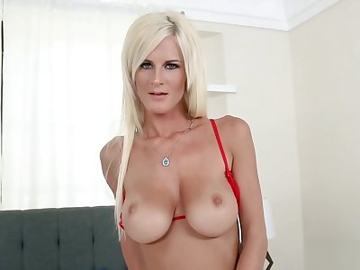 Hot Festival MILF In Red Lingerie and Stockings Teases and Fucks Hubby