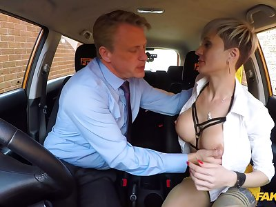 Oversexed matured with big tits, hideous fuck with the driving trainer