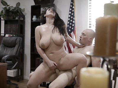 Big titted MILF secretary gets naughty together with fucks her boss