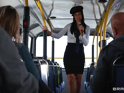 Energized women shag evenly proportioned dude approximately a bus