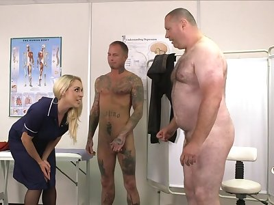 Three guys win their dicks pleasured by horny MILF Victoria Summers
