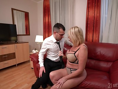 Become absent-minded cougar is a busty slut with nothing but love for a younger man's dick